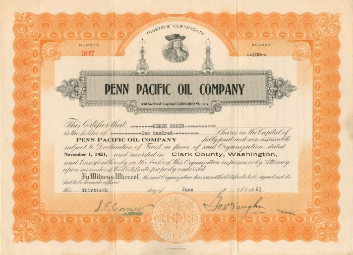 Penn Pacific Oil Company - Stock Certificate