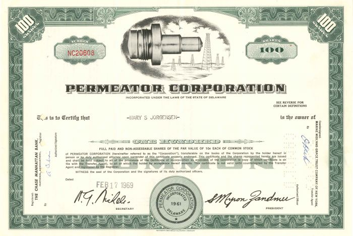 Permeator Corporation - Stock Certificate