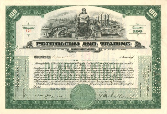 Petroleum and Trading Corporation - Stock Certificate