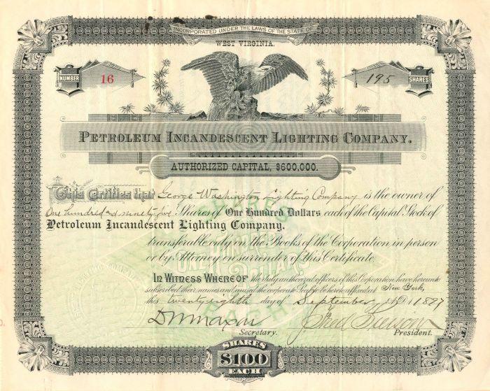Petroleum Incandescent Lighting Company - Stock Certificate