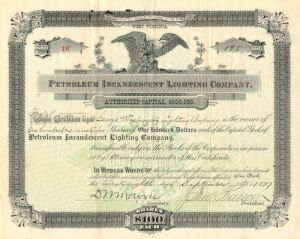 Petroleum Incandescent Lighting Company - Stock Certificate