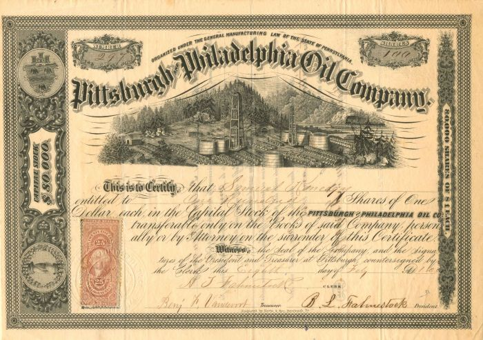 Pittsburgh and Philadelphia Oil Company - Stock Certificate