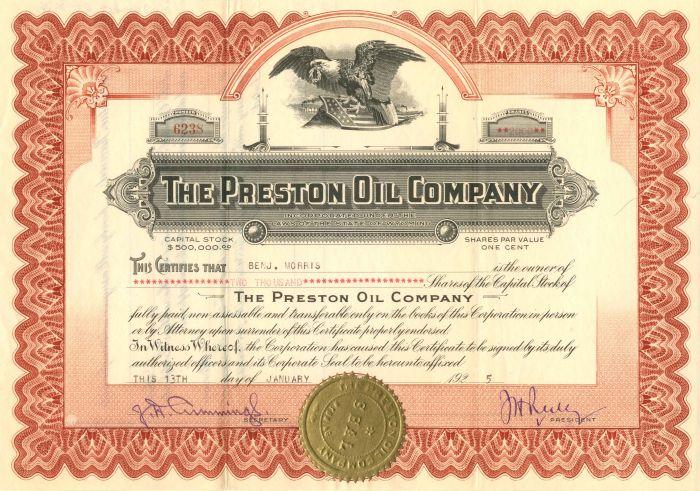 Preston Oil Company - Stock Certificate