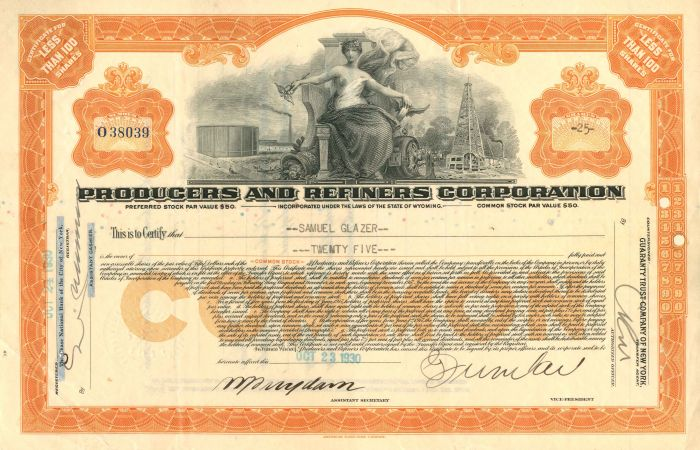 Producers and Refiners Corporation - Stock Certificate