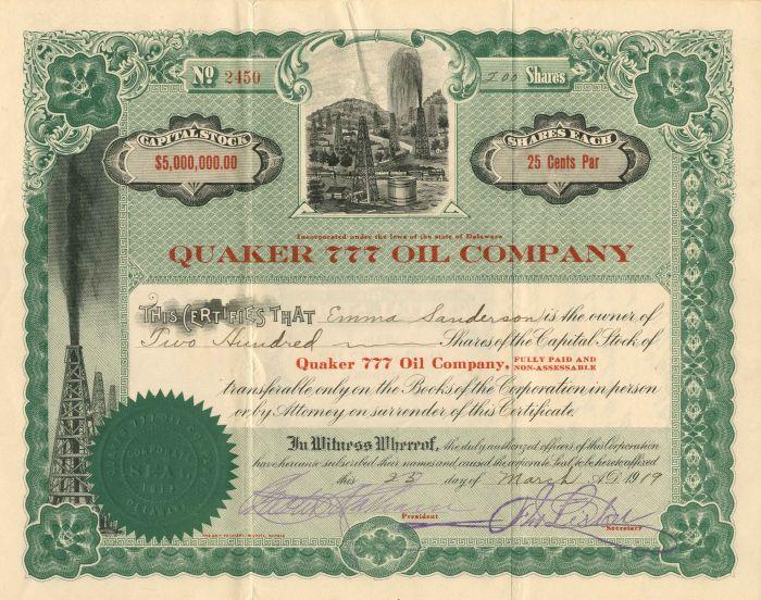 Quaker 777 Oil Company - Stock Certificate