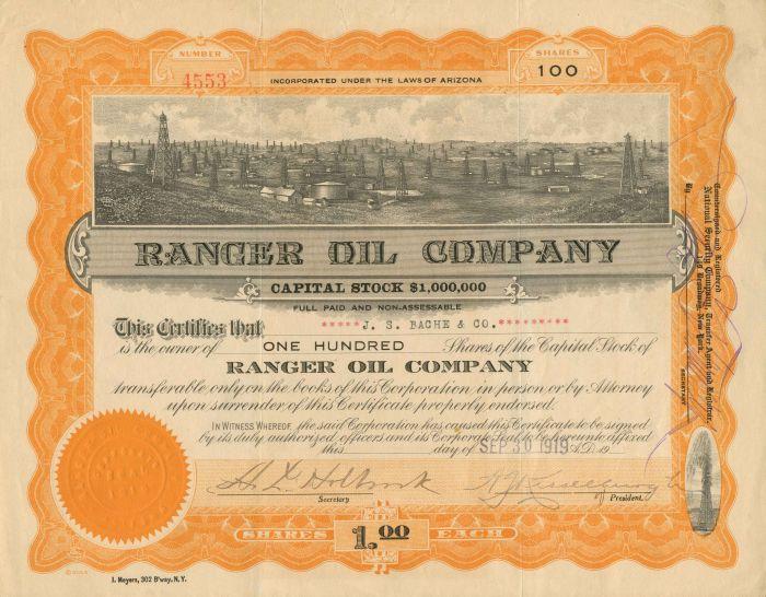 Ranger Oil Company - Stock Certificate