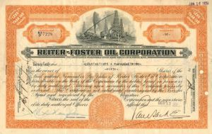 Reiter-Foster Oil Corporation - Stock Certificate