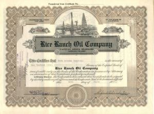 Rice Ranch Oil Company - Stock Certificate
