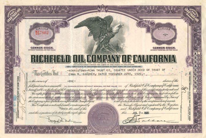Richfield Oil Company of California - Stock Certificate