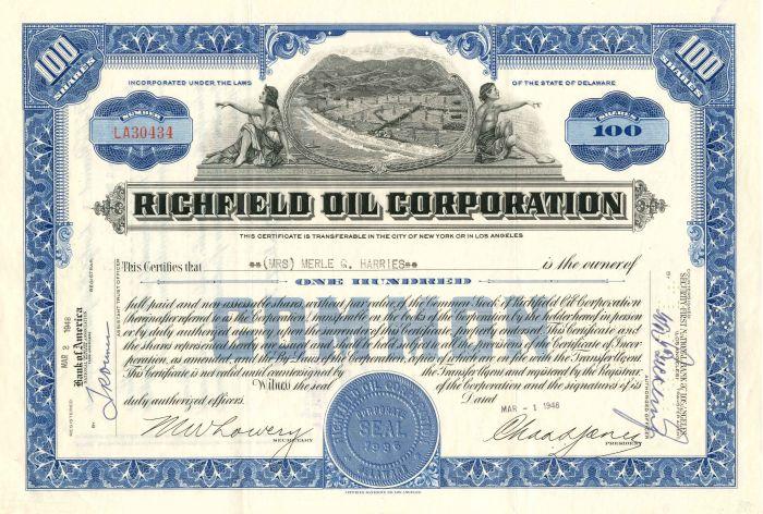Richfield Oil Corporation - Stock Certificate