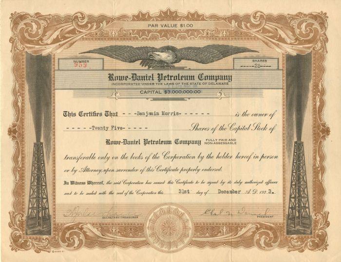 Rowe-Daniel Petroleum Company - Stock Certificate