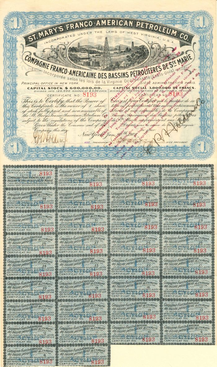 St. Mary's Franco-American Petroleum Co. - Stock Certificate