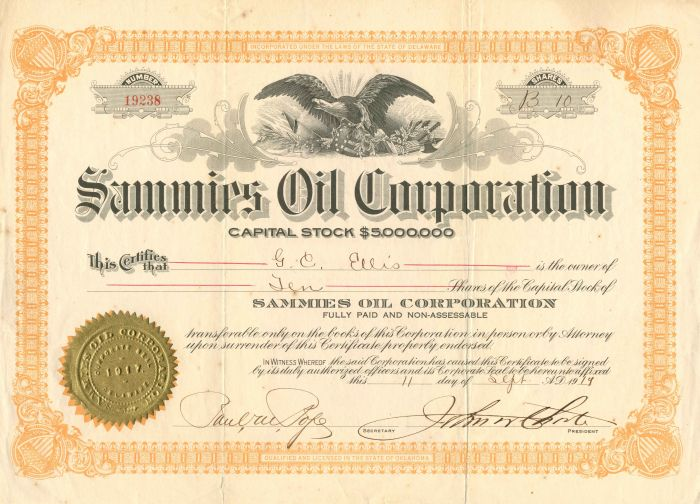 Sammies Oil Corporation - Stock Certificate