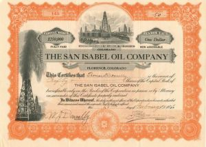 San Isabel Oil Company - Stock Certificate - SOLD
