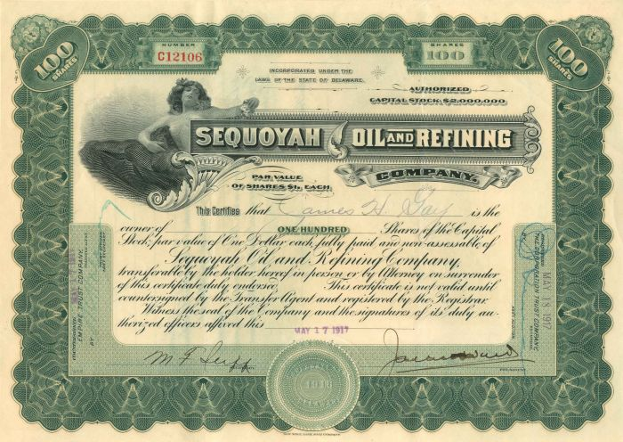 Sequoyah Oil and Refining Company - Stock Certificate