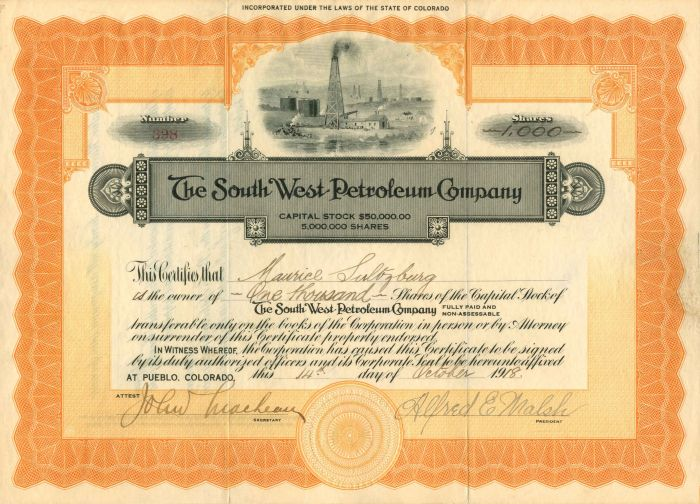 South West Petroleum Company - Stock Certificate