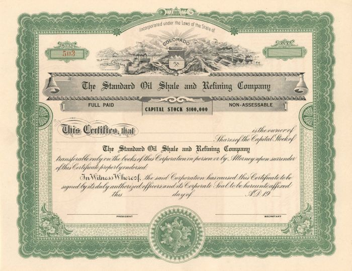 Standard Oil Shale and Refining Company - Stock Certificate