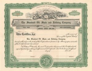 Standard Oil Shale and Refining Company - Stock Certificate - SOLD