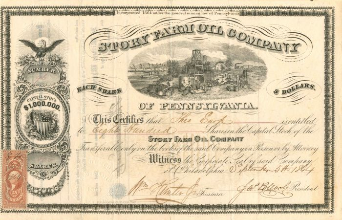 Story Farm Oil Company - Stock Certificate