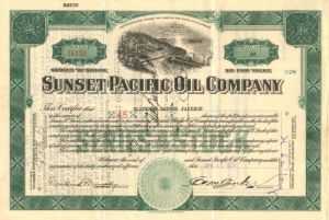 Sunset Pacific Oil Company - Stock Certificate