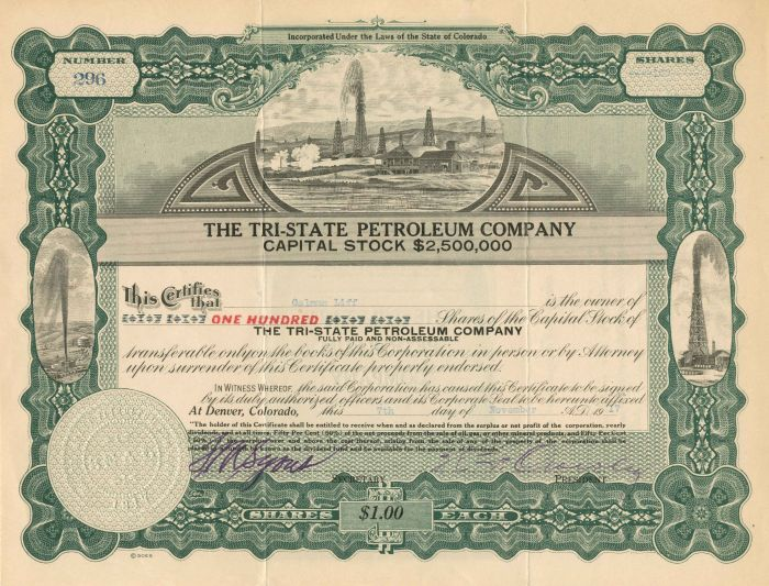 Tri-State Petroleum Company - Stock Certificate