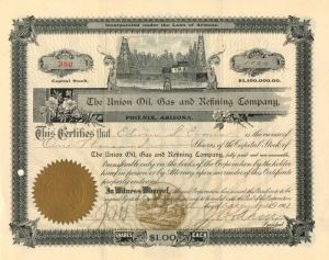 Union Oil, Gas and Refining Company - Stock Certificate
