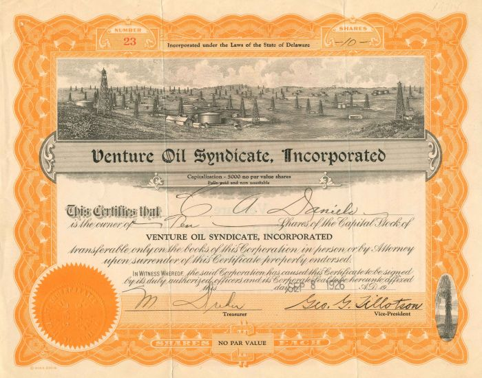 Venture Oil Syndicate, Incorporated - Stock Certificate