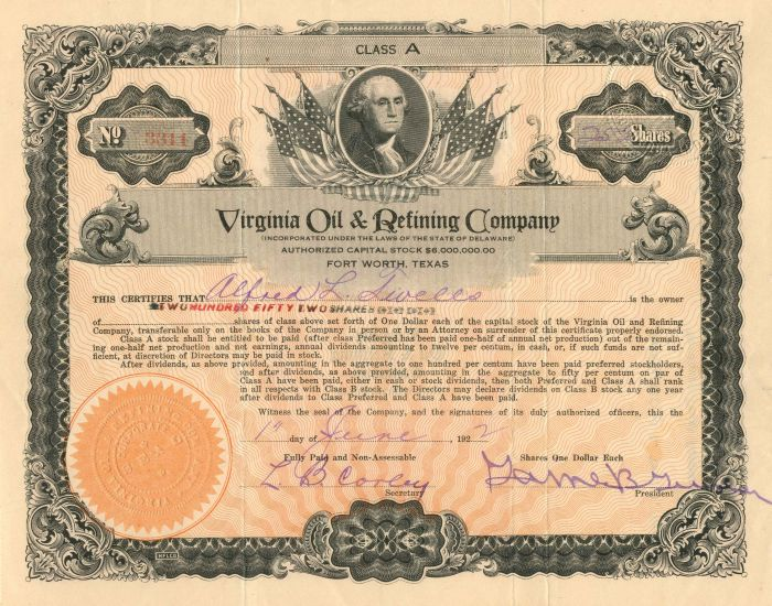 Virginia Oil & Refining Company - Stock Certificate