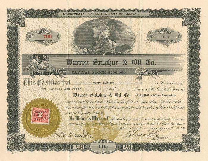 Warren Sulphur & Oil Co. - Stock Certificate