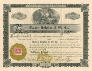 Warren Sulphur & Oil Co. - Stock Certificate