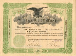 Whelan Oil Company - Stock Certificate