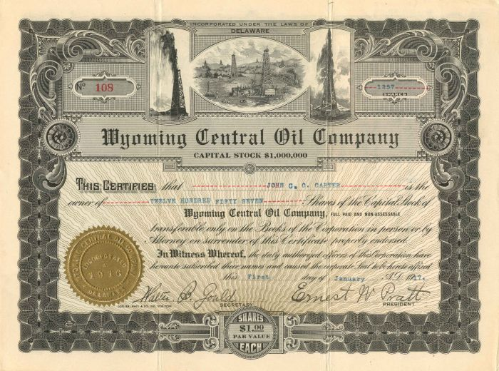 Wyoming Central Oil Company - Stock Certificate