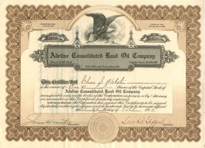 Adeline Consolidated Road Oil Company - Stock Certificate