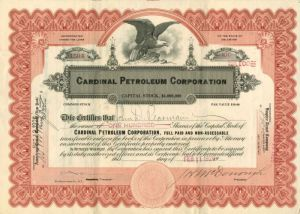 Cardinal Petroleum Corporation - Stock Certificate