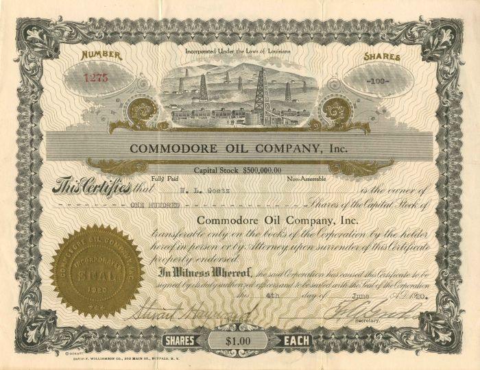 Commodore Oil Company, Inc. - Stock Certificate