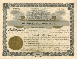 Commodore Oil Company, Inc. - Stock Certificate