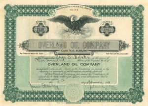 Overland Oil Company - Stock Certificate