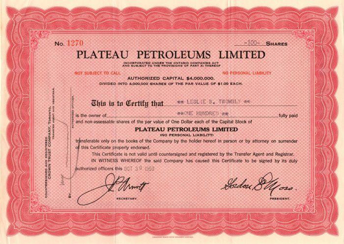 Plateau Petroleums Limited - Stock Certificate