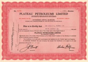 Plateau Petroleums Limited - Stock Certificate