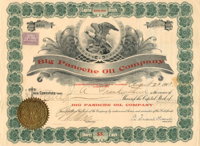 Big Panoche Oil Company - Stock Certificate