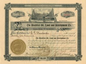 Blackfeet Oil, Land and Development Co. - Stock Certificate