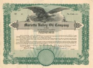 Murietta Valley Oil Company - Stock Certificate