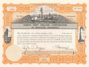 Norco First Drilling Corporation - Stock Certificate