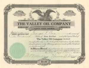 Valley Oil Company - Stock Certificate