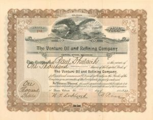 Venture Oil and Refining Company - Stock Certificate