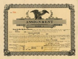 Assignment Block A - (Lucky Strike Oil Company) - Stock Certificate