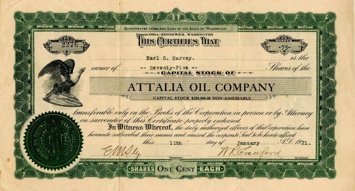 Attalia Oil Company - Stock Certificate - SOLD