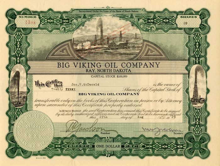 Big Viking Oil Company - Stock Certificate