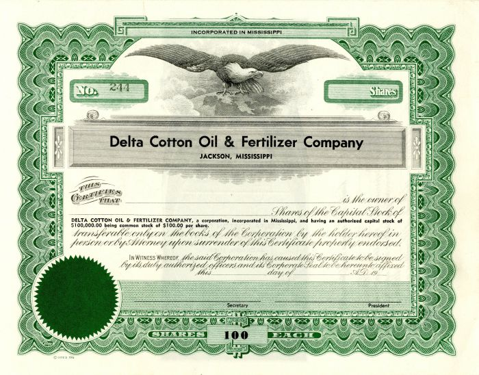 Delta Cotton Oil & Fertilizer Company - Stock Certificate