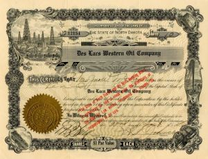 Des Lars Western Oil Company - Stock Certificate